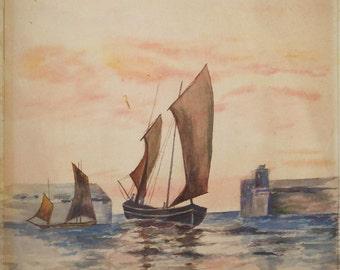vintage watercolor boat entering harbor 19th century