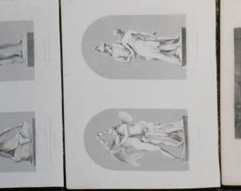 five Victorian prints statues people