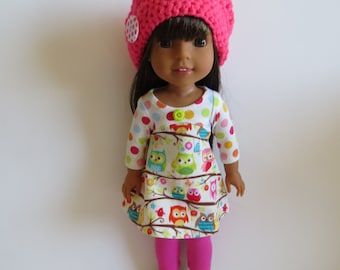 "Made To Fit Like 14.5"" Wellie Wishers Doll; 14.5"" Doll Leggings with Cotton Knit Dress; Dress Fits Wellie Wisher Doll; Doll Slouch Hat"