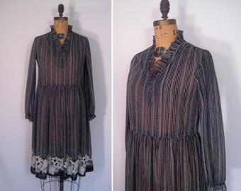 1970s 1980s black & white floral print dress • 70s 80s sheer striped secretary dress • vintage this changing world dress