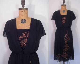 1970s sheer black glitter party dress • 70s noir metallic flower disco dress • vintage night must fall dress