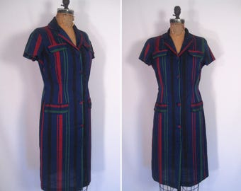 1940s 1950s navy striped shirt dress • 40s 50s ink blue day dress • vintage sweet memories dress