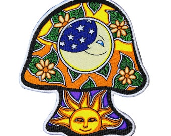 Dan Morris Sun & Moon Mushroom Patch Groovy Art Craft Apparel Iron-On Applique