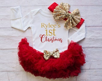 Girls Christmas Clothing..One Piece-My First Christmas Bodysuit / Personalized Christmas Outfit Headband Set...Baby's First Christmas Outfit