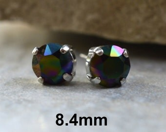 Dark Rainbow Earrings, Stud Earrings, rainbow earrings, Crystal Stud, Rhodium Silver Settings, Rhinestone Studs, Studs in Settings, 8.4mm