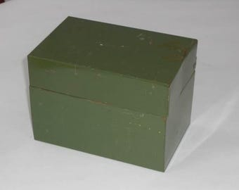 Vintage J. Chein Green Metal File Box Recipe Box