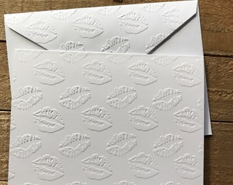 Valentine's Cards, Kissing Lips Cards, White Embossed Cards, Greeting Cards, Stationery Set, Love Note Cards, Blank Cards