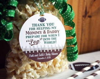 Football Baby Shower Party Favor Gift Tags, Ready to POP, Popcorn Party Favor Tag, Personalized Football Party, Tailgate Party, Sticker