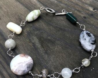 Gratitude mala bracelet oxidized sterling silver mixed gemstones