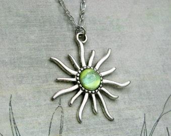 Apollo - Apple Green, Lemon Yellow and Grey - Color Shifting -  Antique Silver Sun Necklace