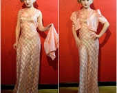 Reserved 1930s Bias Cut Gown Sheer Peach Windowpane Peach Rayon Dress Deadstock with Bolero