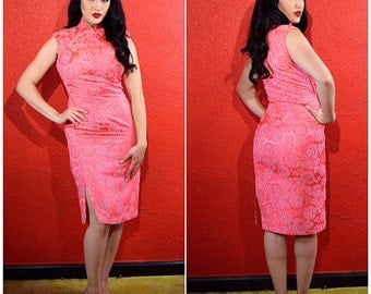 1950s 60s hot pink cheongsam in a paisley brocade