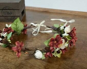 hair crown,  bridal flower crown, Sale silk flower crown, wedding headpiece, Ready to ship,pinecone accessories,   haircrown,  flower crown