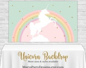 Rainbow Unicorn Backdrop - YOU PRINT Printable PDF Banner Pastel Buffet Table Birthday Gold Pink Mint Clouds 3x5 4x6 4x8 3x6 Custom Size
