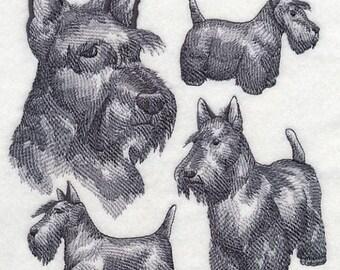 Scotty Dog Scottish Terrier Scottie Embroidered Quilt Block Square Dog Sketch