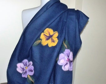 navy blue scarf wool scarf handmade accessories  felt With felt patterns scarves wrap scarf scarves