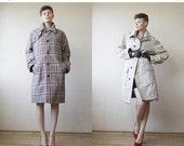 End of 2016 SALE Beige tartan plaid reversible wool coat Large