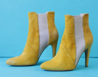 STEFANEL Vintage bright yellow suede leather high stiletto heel chelsea ankle boots Size 37 7