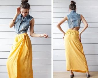 Vintage bright sun yellow pure silk wrap front elastic waist maxi skirt M
