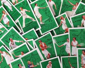 Original vintage tennis illustrated cards. Wonderful graphic illustrated cigarette cards. Random set of 10 cards.