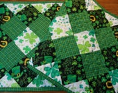 St Patricks Day quilted table runner, handmade quilted and reversible table topper