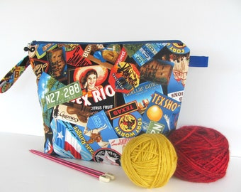 Large knitting bag, Zipper pouch, Cosmetics Travel bag, Electronic accessories, Greetings from Texas Knitter's gift Yarn bag