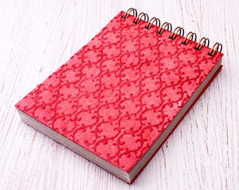 Small spiral notebook red embossed / recycled notebook / blank notebook / pocket notebook / red notebook / sketchbook / red notepad
