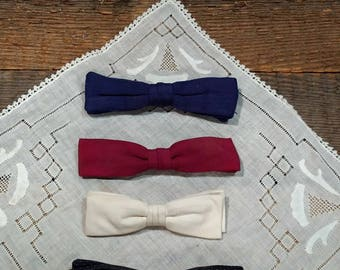 Shabby Vintage Lot of Bow Ties / Bowties / Adult / Mid-Century / Blue, Cranberry, Ivory, Polka Dot (Black and Pale Blue) / Geek Chic / Clip