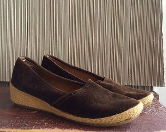 Vintage brown velvet wedge heel espadrilles 7.5