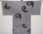 Antique nagajyuban for men - Shibori, Kanji and tomoe, Prewar