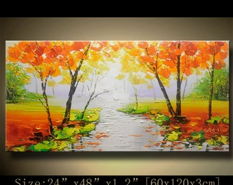 contemporary wall art, Palette Knife Painting,colorful tree painting,wall decor  Home Decor,Acrylic Textured Painting ON Canvas by Chen 1021