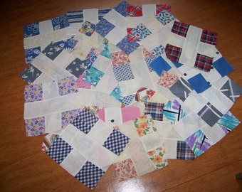 REDUCED Lot of 25 Vintage Hand Sewn Quilt Squares Mostly Feedsack