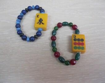 Mahjong bracelets using vintage Bakelite butterscotch tile
