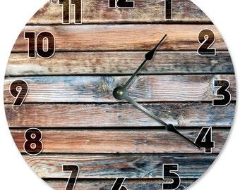 "OLD BARN WOOD Clock - Large 10.5"" Wall Clock - 2117"