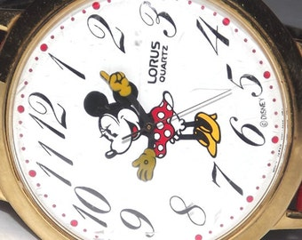 Extra Large Disney Miinnie Mouse Lorus Seiko V501 Quartz Character Watch