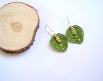 Crochet Leaf Earrings, Stylish Leaf Earrings, Spring Earrings, Mothers Day Gift