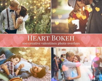Heart Bokeh photo overlays, Valentines photo overlays, love photo overlays for Photoshop, lights overlays, bokeh overlays