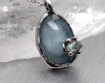 aquamarine necklace, rose cut necklace, gemstone, march birthstone, sterling silver, silver necklace, silver pendant
