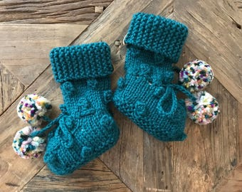 READY TO SHIP///Bobble Booties in Spruce Green 100% Peruvian Highland Wool (0-6 Months)