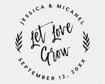 Let Love Grow Wedding Favor Stamp, Self Inking Stamp, Wood Stamp, Circle Wedding Stamp, Brush Calligraphy, For Wedding Seed Favors  (T405)