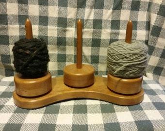 Cherry Yarn Caddy , spinning mini  yarn holder set of 3 with base