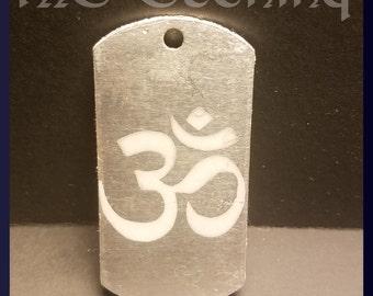 Om Symbol etched dog tag
