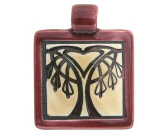 Bleeding Heart Tree 1.5 inch ( 40 mm ) Small Square Porcelain Pendant (Ruby)