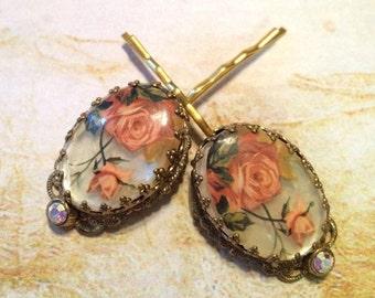 HOLIDAY SAVINGS Decorative Bridal Hair Pins Jewelry West Germany Pink Flower Rhinestone Hairpins Bobby Pins