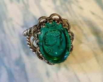 HOLIDAY SAVINGS Intaglio Cameo Ring, 1930's Vintage Teal Glass West Germany Cocktail Statement Bling