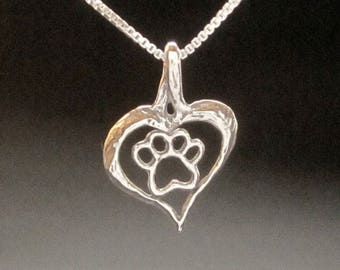 Paw Heart Pendant, dog cat paw necklace handmade in USA