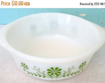 ON SALE Vintage Glasbake 11/2 Quart Casserole Dish white with olive green flower design Made in the USA