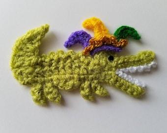 """NEW- 1pc 3.75"""" Crochet MARDI GRAS Crocodile Applique"""