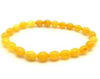 Amber Baltic Bracelet Genuine 4.27 Gr Egg Yolk Cream White Yellow Color
