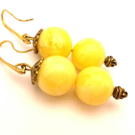 Amber Resin White Yellow Cream Color Handmade Artisan Earrings